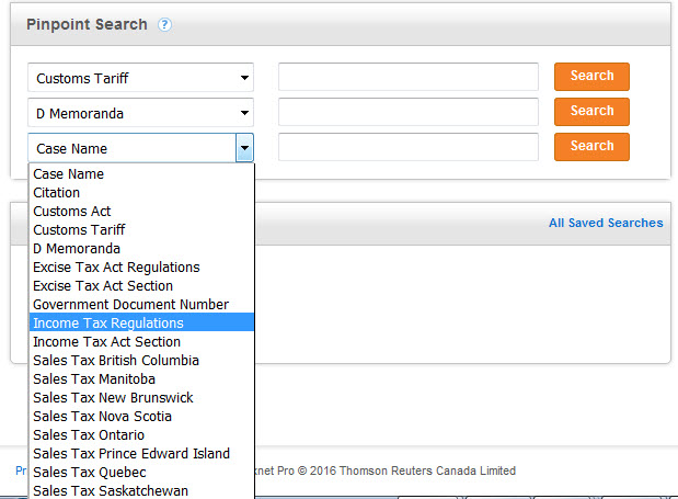 Pinpoint searching on Taxnet Pro