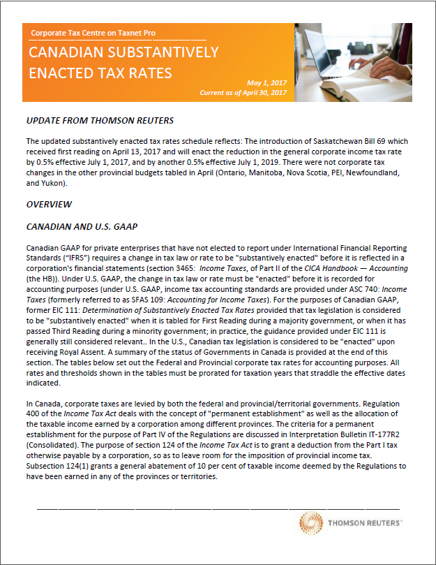 Substantively enacted rates