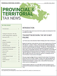 Provincial & Territorial Tax News