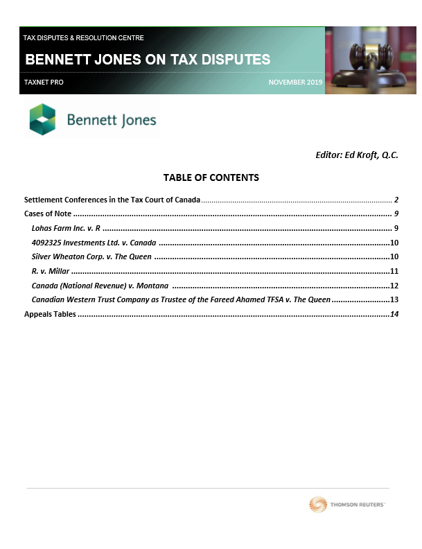 Bennett Jones on Tax Litigation